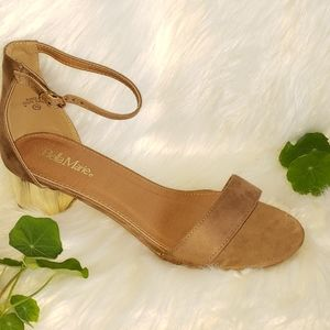 Tupe and Gold heel one strap block heel